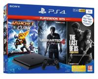 PlayStation-SONY konzola PLAYSTATION 4 SLIM 1TB + 3 PLAYSTATION HITS IGRE - PS4, 1 kontroler, Crna